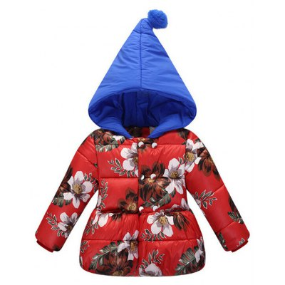 Hooded with Hairball Floral Padded Coat