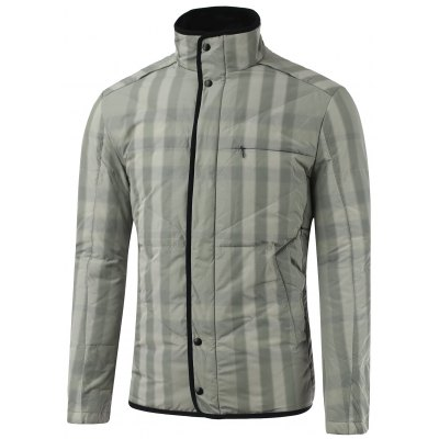 Stand Collar Zip-Up Striped Quilted Jacket