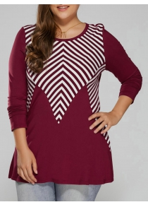 Plus Size Striped Trim T-Shirt