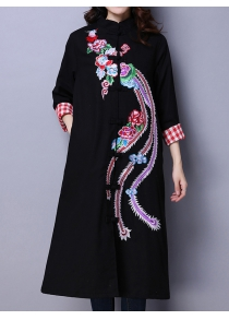 Phoenix Embroidered Wool Blend Maxi Coat