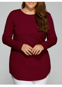 Plus Size Arc-Shaped Hem T-Shirt