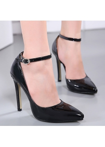 Patent Leather Stiletto Heel Ankle Strap Pumps