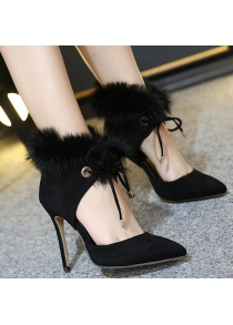 Furry Stiletto Heel Pointed Toe Pumps