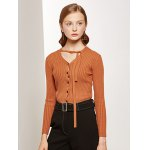 cheap Pullover Buttoned Tied-Up Knitwear