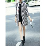 cheap Striped Face Print Walker Coat With Buttons