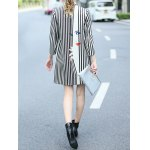 Striped Face Print Walker Coat With Buttons for sale