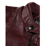 PU-Leather Stand Collar Zipper Embellished Flocking Jacket deal