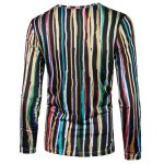 cheap Long Sleeve Colorful Vertical Striped T-Shirt