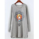 Plus Size Fleeced Peking Opera Pattern Sweatshirt
