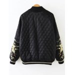 cheap Argyle Embroidered Quilted Bomber Jacket