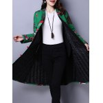 cheap Floral Print A Line Padded Coat