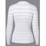 cheap Mock Neck Striped Pullover Sweater