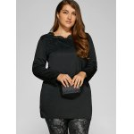 cheap Plus Size Rhinestone Embellished Long Pullover