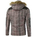 cheap PU Spliced Checkered Hooded Quilted Jacket