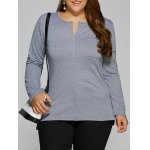 Plus Size Single Pocket High Low T-Shirt