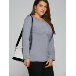 cheap Plus Size Single Pocket High Low T-Shirt