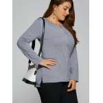 Plus Size Single Pocket High Low T-Shirt deal