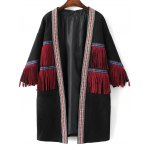 Collarless Fringe Faux Suede Coat