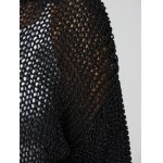 best Plus Size Side Slit Hollow Out Sweater