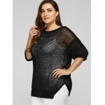 Plus Size Side Slit Hollow Out Sweater deal