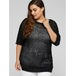 cheap Plus Size Side Slit Hollow Out Sweater