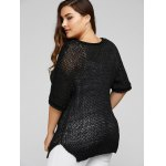 Plus Size Side Slit Hollow Out Sweater for sale