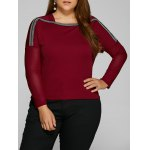 Plus Size Drop Shoulder Sheer Sleeve T-Shirt