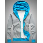 Hooded Color Block Splicing Zip-Up Fleece Hoodie