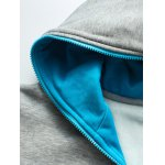 Hooded Color Block Splicing Zip-Up Fleece Hoodie for sale