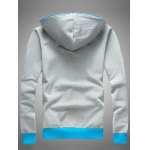 Hooded Color Block Splicing Zip-Up Fleece Hoodie deal