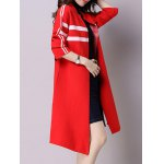 cheap Open Front Side Slit Knitted Long Coat