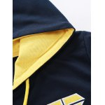 Hooded Color Block Splicing Zip-Up Embroidered Hoodie deal