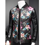 cheap Plus Size Stand Collar Florals Print Zip-Up Padded Jacket