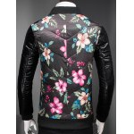 Plus Size Stand Collar Florals Print Zip-Up Padded Jacket deal