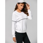 cheap Contrast-Trim Pullover Loose Sweatshirt