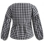 cheap Lace-Up Checked Ruffles Loose Blouse