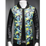 Plus Size Stand Collar Camouflage Zip-Up Padded Jacket