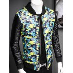 cheap Plus Size Stand Collar Camouflage Zip-Up Padded Jacket