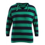 High-Low Striped Casual Hoodie