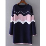 Color Block Wave Jacquard Sweater Dress