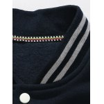 Striped Stand Collar Badge Applique Baseball Jacket deal