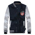 Striped Stand Collar Badge Applique Baseball Jacket