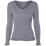 V Neck Fitted Cable Knit Sweater