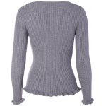 cheap V Neck Fitted Cable Knit Sweater