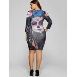 best Devil Skull Print Mini Bodycon Dress