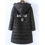 cheap Plus Size Vertical Pockets Appliqued Hooded Quilted Coat