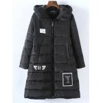 Plus Size Vertical Pockets Appliqued Quilted Coat