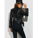 Faux Leather Beaded Biker Jacket for sale