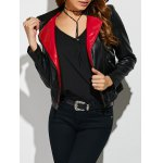 Faux Leather Color Block Biker Jacket