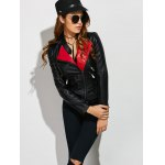 cheap Faux Leather Color Block Biker Jacket